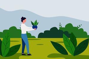 Planting plants save earth illustration vector