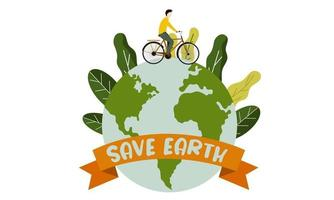 Save earth illustration with go green lifestyle vector