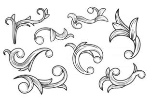 Set of vintage ornament with floral concept vector