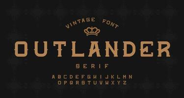 Vintage decorative alphabet serif font vector