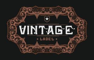 Vintage frame label with decorative ornament vector