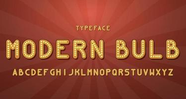 Vintage modern bulb alphabet font vector