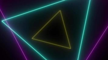 Sci-Fi Neon Triangle Tunnel Abstract Background video