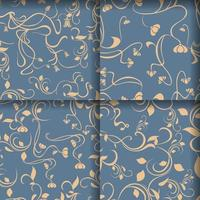 Set of Floral Luxurious Seamless Pattern vector