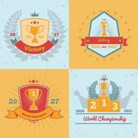 Trophy Awards 4 Emblems Set Vector Illustration