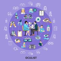 Ilustración de vector de composición de símbolos de círculo oculista