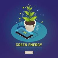 Green Energy Isometric Composition Vector Illustration
