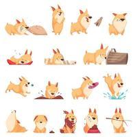 Cartoon Cute Puppy Set Vector Illustration