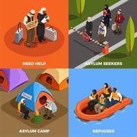 Isometric Refugees Design Concept Vector Illustration