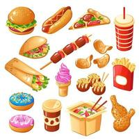 Fast Food Icons Set Vector Illustration