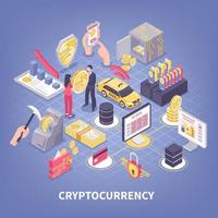 Crypto Currency Isometric Composition Vector Illustration
