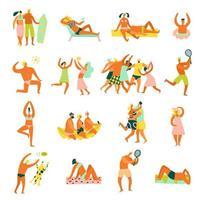La gente de vacaciones en la playa establece ilustración vectorial vector