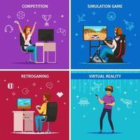Ilustración de vector de concepto de personajes de dibujos animados de cybersport