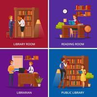 Ilustración de vector plano de concepto de biblioteca