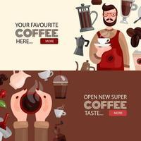 Ilustración de vector de banners horizontales de producción de café