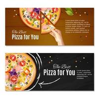 Realistic Pizza Horizontal Banners Vector Illustration