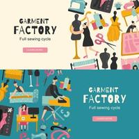 Garment Factory Horizontal Banners Vector Illustration