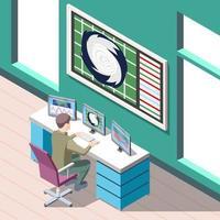 Weather Forecaster Isometric Background Vector Illustration