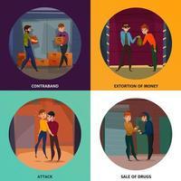 Criminal Activities Concept Icons Set Vector Illustration