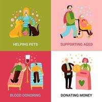 Charity Types 2x2 Design Concept Vector Illustration