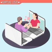 Virtual Love Isometric Background Vector Illustration