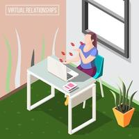 Virtual Relationships Isometric Background Vector Illustration