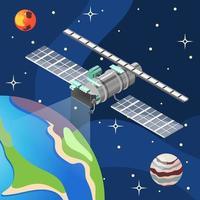 Weather Satellite Isometric Background Vector Illustration