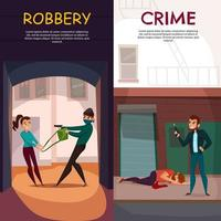 Criminal Activities Banners Set Vector Illustration