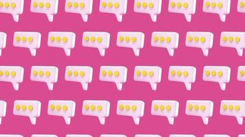 animación de diseño de movimiento 4k de patrones sin fisuras de chat de burbujas de discurso video