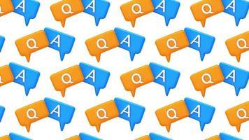 Pregunta y respuesta burbuja discurso animación de diseño de movimiento 4k de patrones sin fisuras video