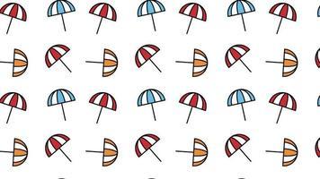 verano playa sombrilla mínimo movimiento arte patrón sin costuras 4k diseño de movimiento animación abstracto 3d render fondo secuencia loopable video