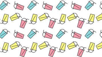 Blase Milch Tee Sommer trinken Kaffee oder Limonade minimale Bewegung Kunst nahtlose Muster 4k Motion Design Animation abstrakte 3D rendern Hintergrund schleifen Sequenz video