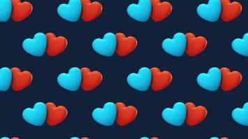Animación de diseño de movimiento de 4k de corazones 3d video