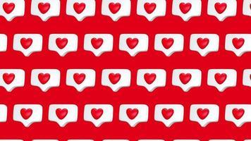 una como notificación de redes sociales con animación de diseño de movimiento de 4k de patrones sin fisuras de icono de corazón video