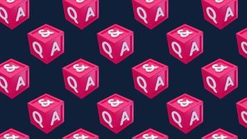 pregunta y respuesta cubo caja qa movimiento mínimo arte sin fisuras patrón 4k diseño de movimiento animación resumen 3d render fondo secuencia en bucle video