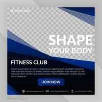 Gym fitness club square banner template post advertising vector