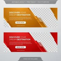 Tour and travel banner template vector