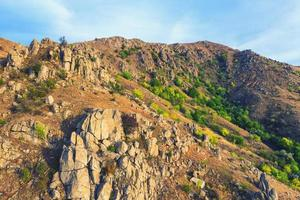 Top view over mountain trail landscape photo