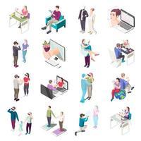 Virtual Love Isometric Icons Vector Illustration
