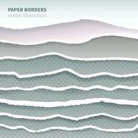 Torn Paper Realistic Borders Vector Illustration
