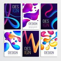 Neon Fluid Cards Set Vector Illustration