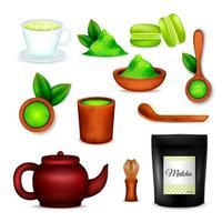 Ilustración de vector de conjunto realista de té matcha