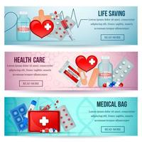 First Aid Realistic Banners Vector Illustration