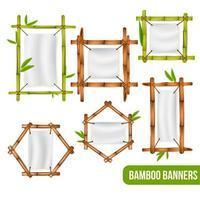 Bamboo Frames Banners Set Vector Illustration
