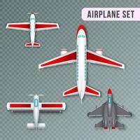 Airplane Top View Set Vector Illustration