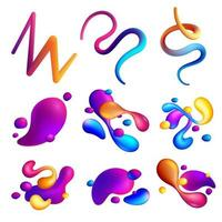 Fluid Abstract Elements Holographic Set Vector Illustration