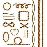 Rope Decorations Realistic Set Vector Illustration