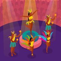Brazilian Carnival Dancing Isometric Illustration Vector Illustration