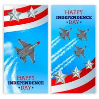 Airplanes Independence Day Banners Realistic Vector Illustration