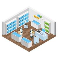 Automated Shop Isometric Composition Vector Illustration